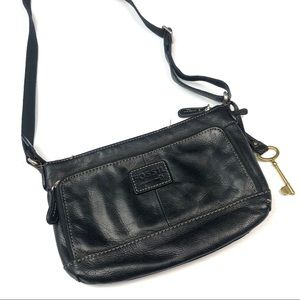 Fossil | Black Crossbody Leather Bag